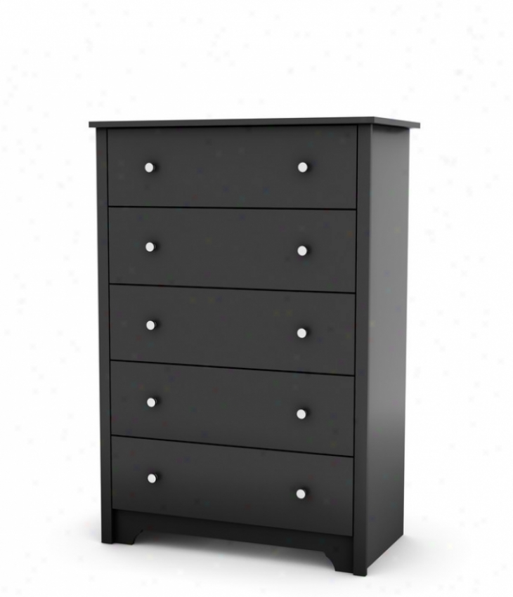 Drawer Chest Contemporary Style Ib Solid Black Finish