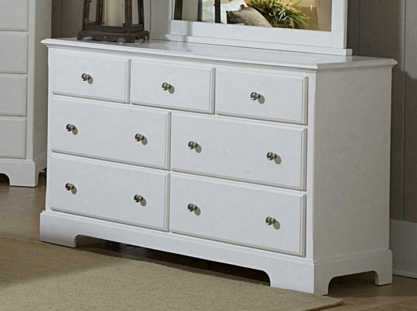 Drawer Dresser Cottage Style In White Finish