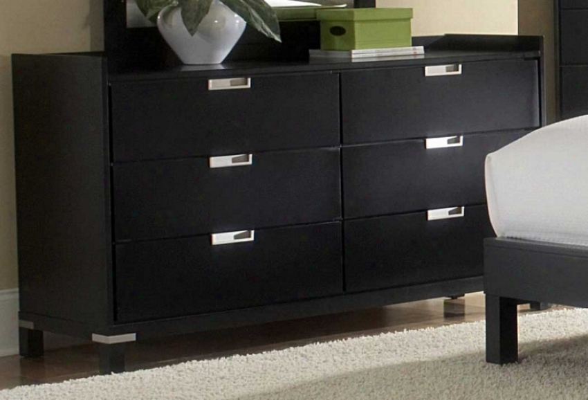 Drawer Dresser With Metal Accent In Black Finish