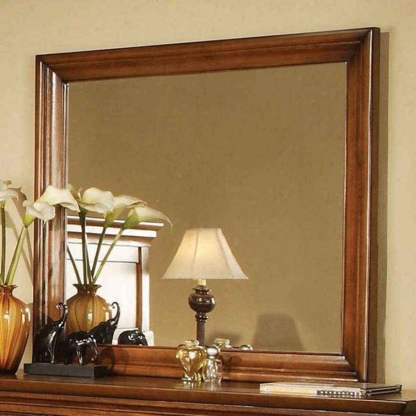 Dresser Beveled Mirror In Light Brown Finished Frame