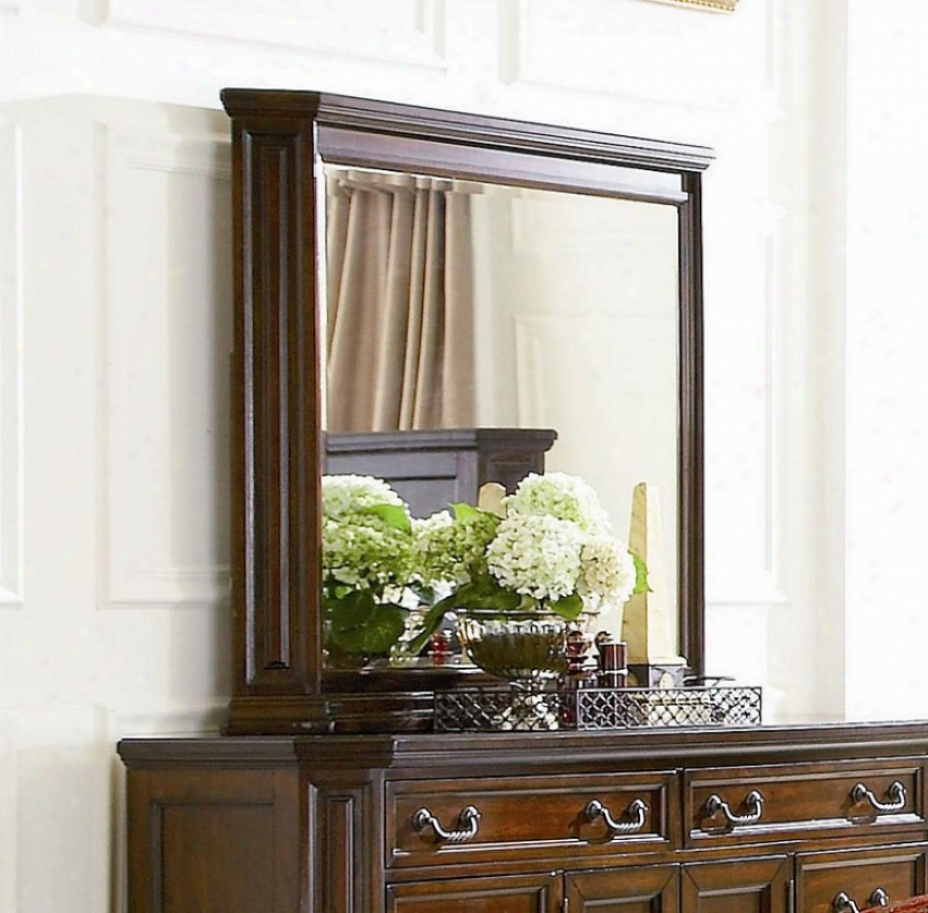Dresser Mirror With Cornice Molding In Deep Brown Finish