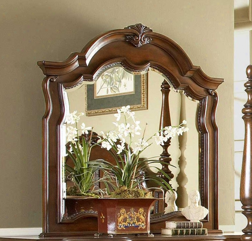 Dresser Mirror With Delicate Carvings In Warm Brown Finish