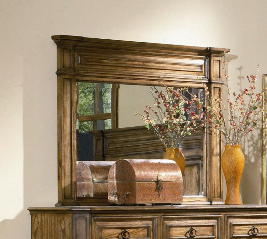 Dresser Mirror With Top Molding In Warm Brown Oak Finish