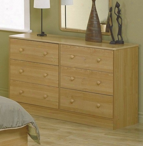 Dresser With Ball Shaped Handles In Oak Finish