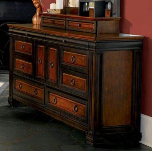 Dresser With Carved Posts In Two-tone Finish