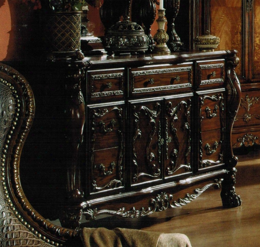 Dresser With Floral Carvings In Brown Cherry Polish