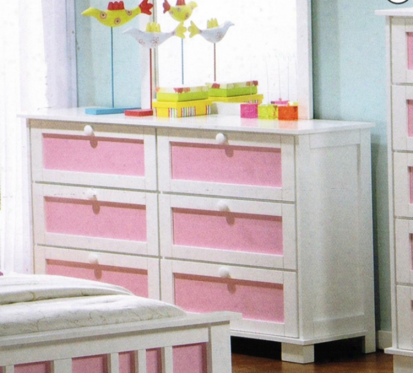 Dresser With Interchangeable Panels In White Finish