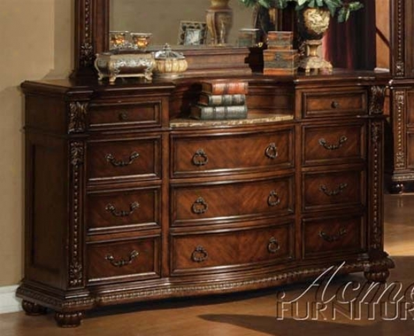 Dresser With Marble Top In Brown Cherry Finish