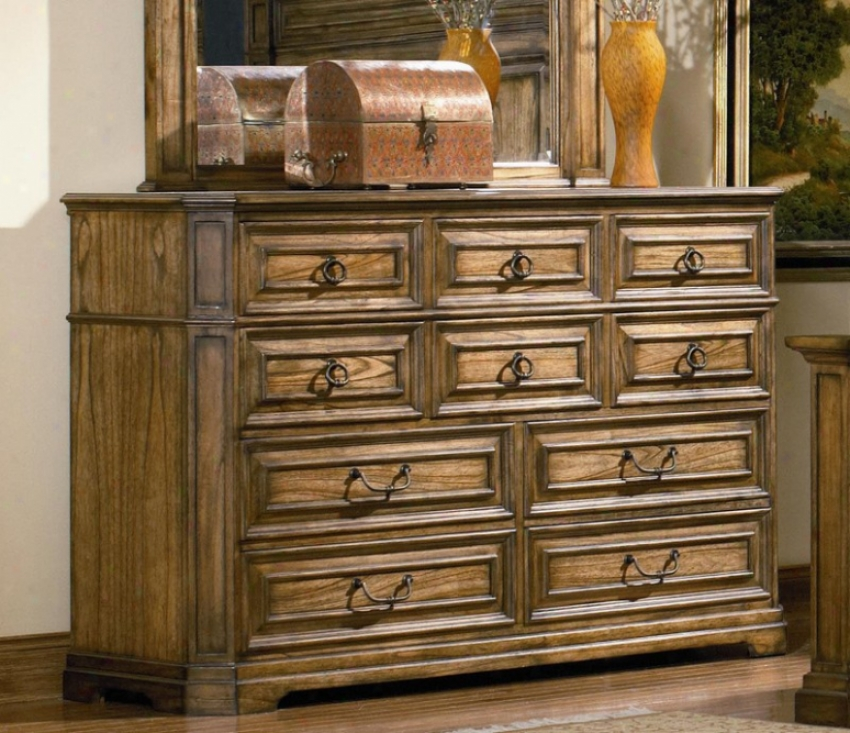 Dresser With Metal Hardware In Warm Brown Oak Finish
