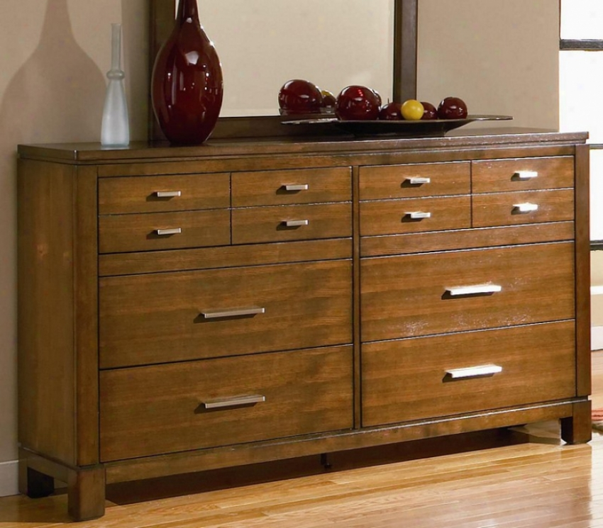 Dresser With Silver Metal Hardware In Bown Oak Finish