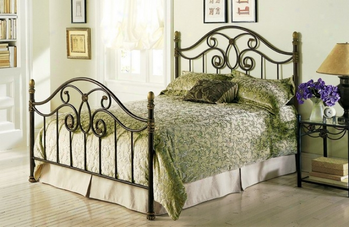 Dynasty Autumn Brown Finish Full Size Performed Iron Metal Bed