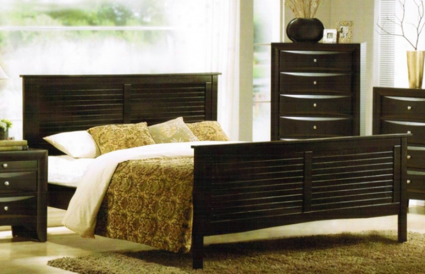 Eastern King Size Bed - Contemporary Dark Espfesso Finish