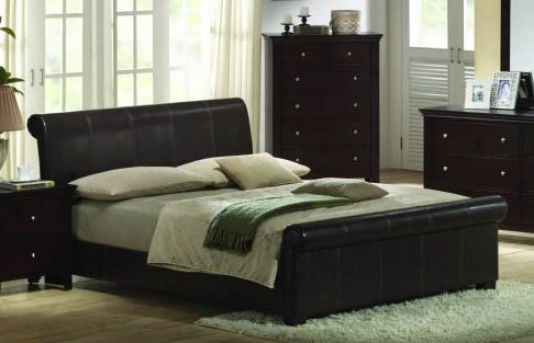 Eastern King Size Bed - Contemporary Espresso Distort