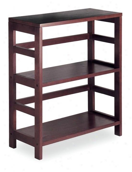 Espresso Finish 2-tier Wood Shelf Bookcase