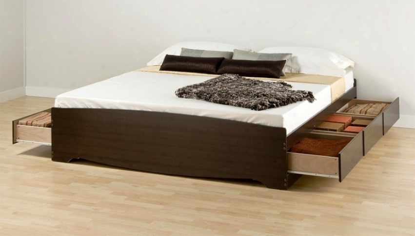 Espresso Finish Sovereign Size Platform Storage Bed