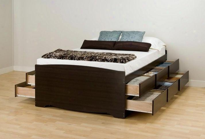 Espresso Finish Queen Size Platfoem Bed W/12 Storage Drawer