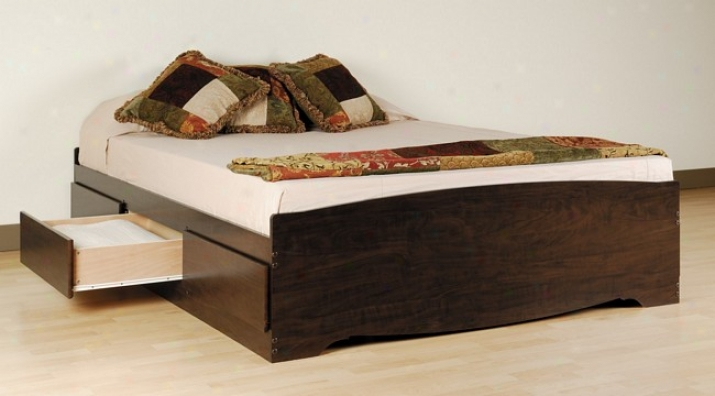 Espresso Finish Queen Size Platform Captain Storage Bed