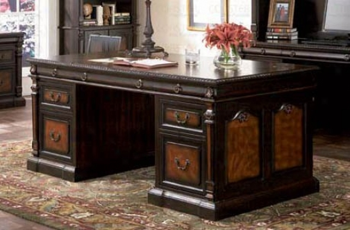 Executive Desk With Detailed Carvings In Two Tone Finish
