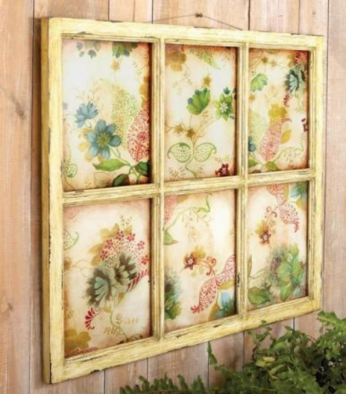 Faux Window Wall Dã©cor With Screened Flowers