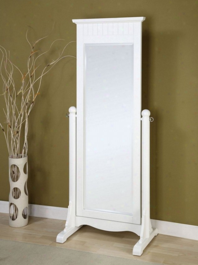 Floor Cheval Mirror With Forest Frame In Pure White Finish