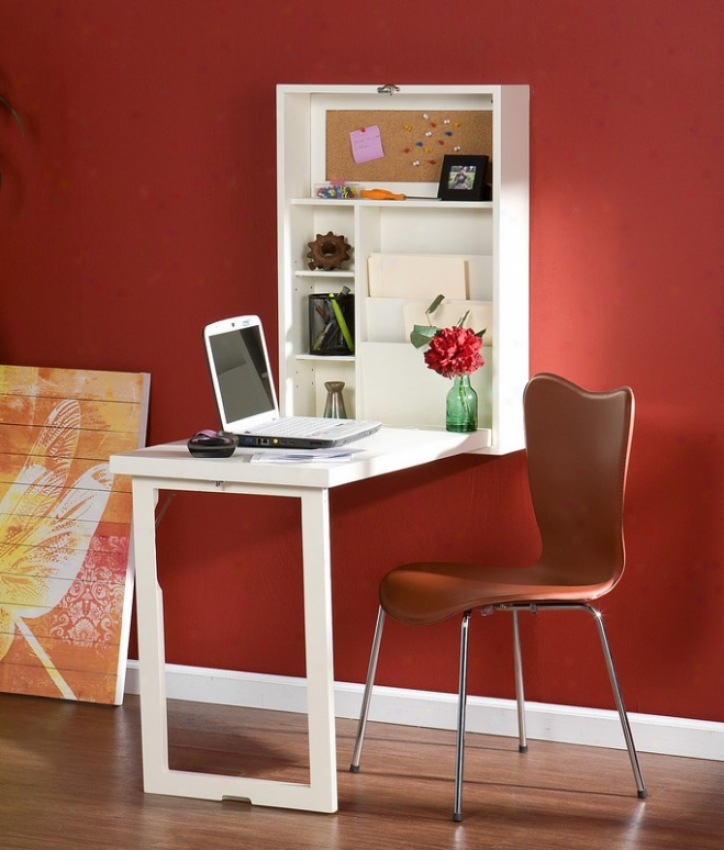 Fold-out Converyible Writing Desk Wall Mount Design White Finish