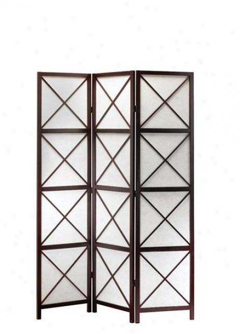 Folding Screen Room Divider - 3 Panels Apex Dark Walnut Finish