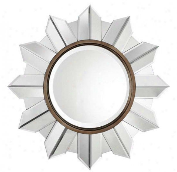 Frameless Mirror With Sunshine Design In Aged Bronze Finish
