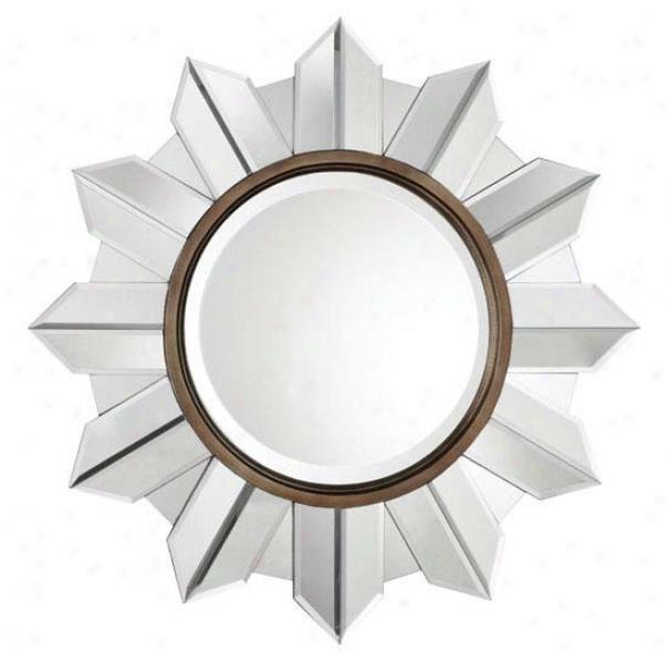 Frameless Mirror With Sunshine Design In Aged Bronze Finish