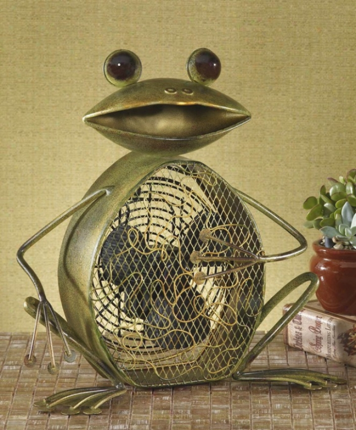 Frog Metal Green Finish Decorative Figurine Electric Table Fan