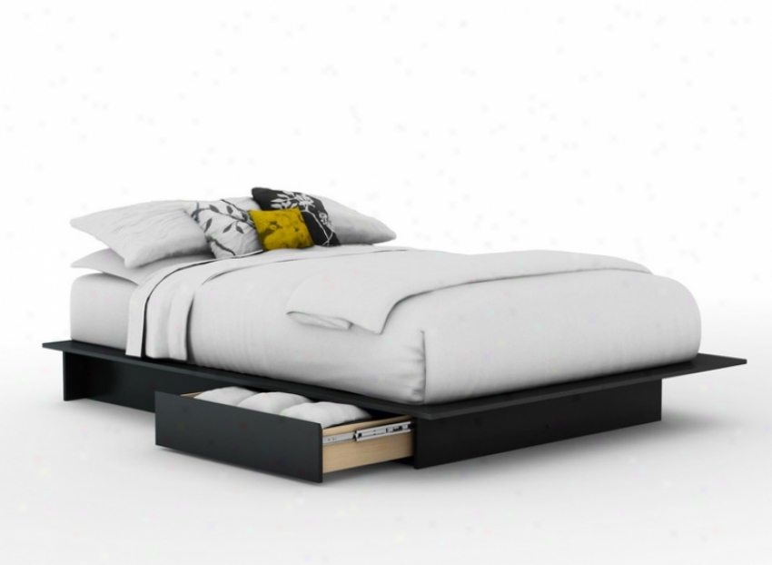 Full/ Queen Size Platform Bed With Underbed Drawer In Solid Negro Finish