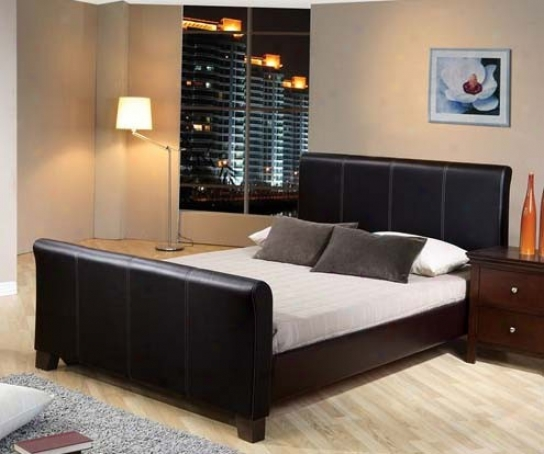 Full Size Bed Black Bycast Leather
