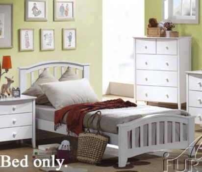Full Size Bed Contemporary Style White Finish