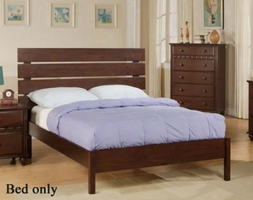 Full Size Bed With Slat Headboard In Deep Brown Finish