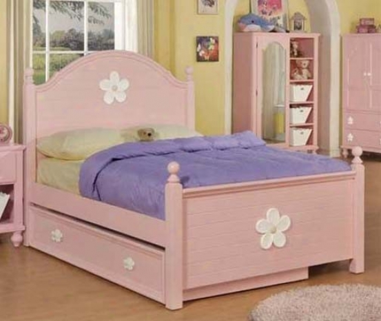 Full Size Bed With Trundle Flower Emblem In Pink Finish