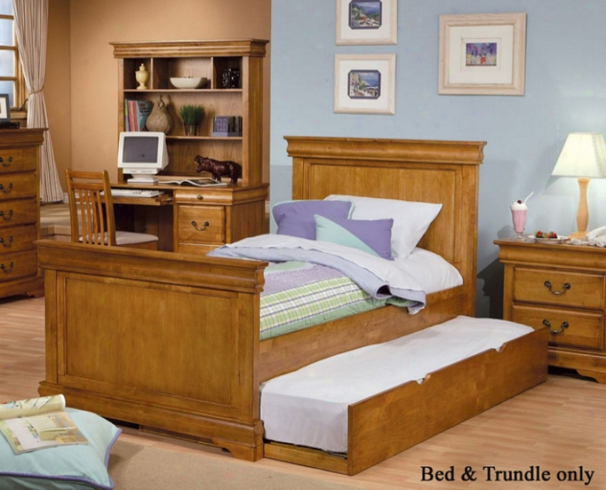 Full Size Bed With Trundle Louis Philippe Sty1e - Light Brown