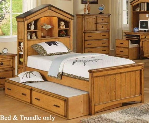 Full Size Bed With Trundlw Tree House Style In Rustic Oak Finish