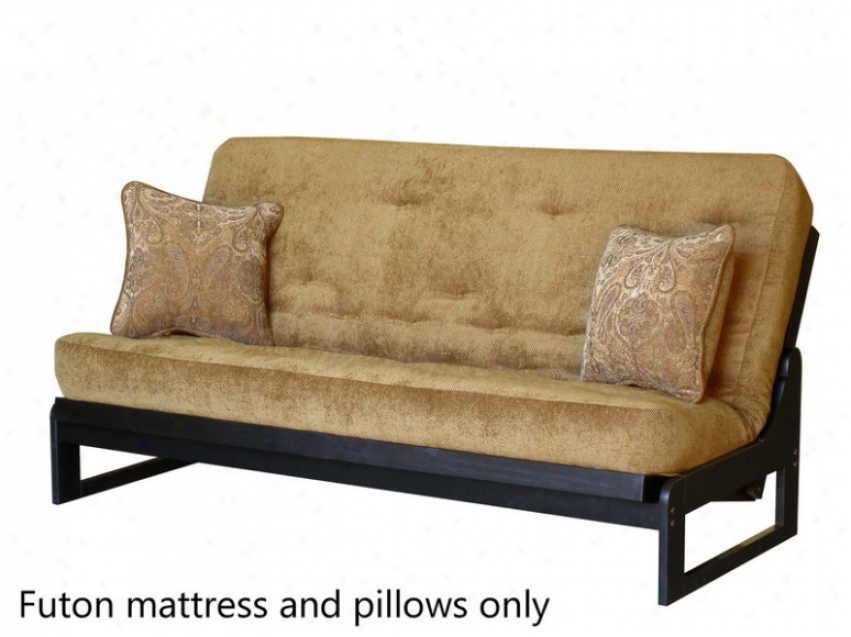 Satiated Size Futon Sofa Mattress Tuftwd In Camel Colored Fabric