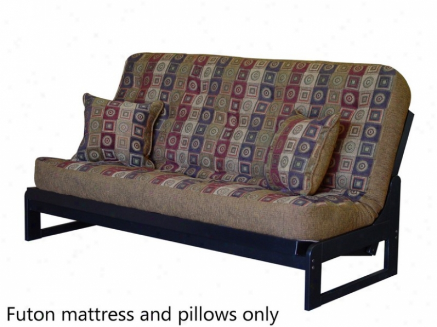 Full Size Futon Sofa Mattresx Tufted In Geometric Pattern