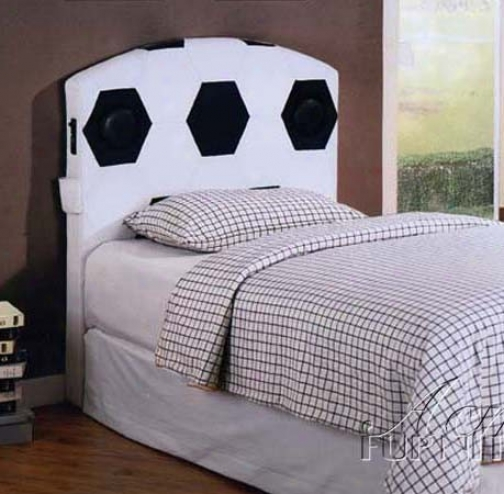 Full Size Headboard With Speakers In Soccet Design