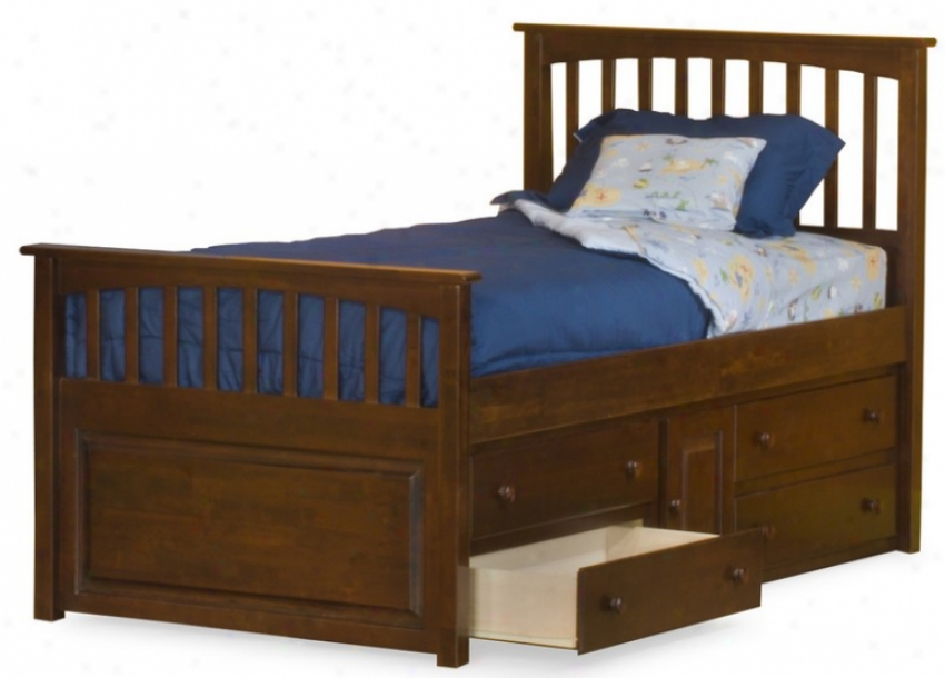 Full Size Mate's Bed With Under Bed Storage Drawer Chest Antique Walnut Finish