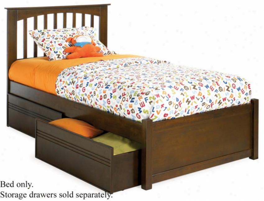 Full Size Platform Bed With Flat Panel Footboard Antique Walnut Finish