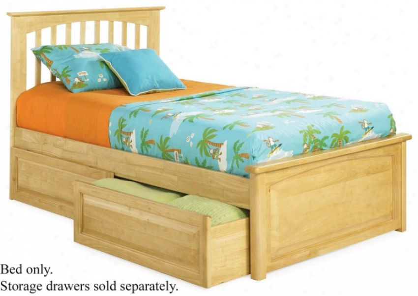 Full Bigness Platform Bed With Raised Panel Footboard Natural Maple Finish