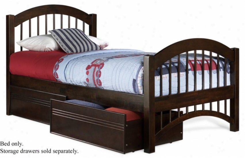 Completely Size Windsor Style Platform Bed With Footboard Antique Walnut Finish