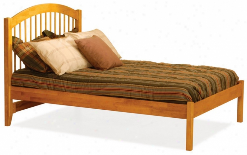 Full Size Windsor Style Platfoem Bed With Open Footrail Caramel Latte Finish