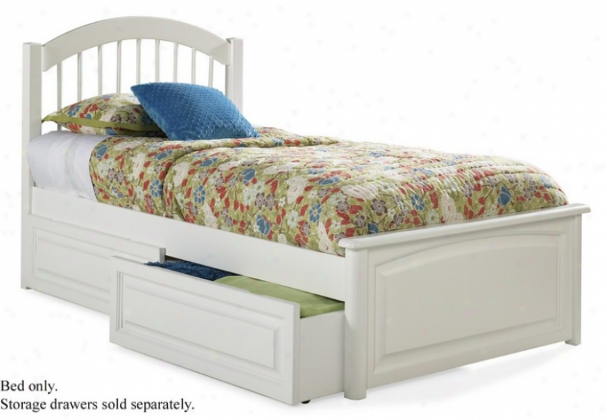 Full Size Windsor Gnomon  Platform Bed With Raised Panel Footboard White Finish