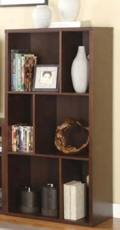 Functional Bookshelf Contemporary Style In Walnut Finish