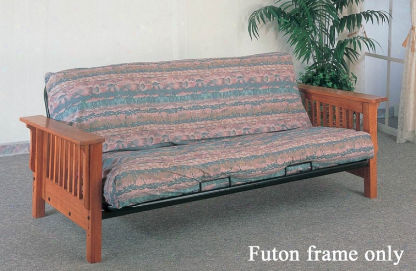 Futon Frame Mission Style In Solid Oak Finish