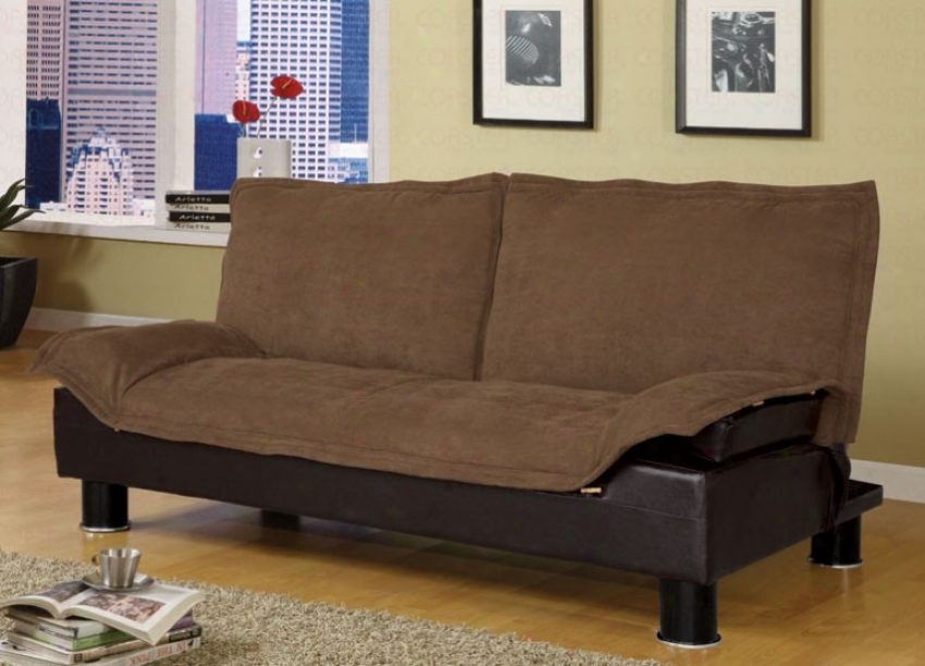 Futon Sofa Bed In Brown Microfiber