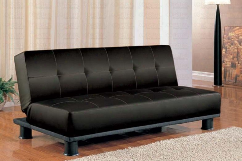 Futon Sofa Bed With Button Tufted Design In Black Vinyl