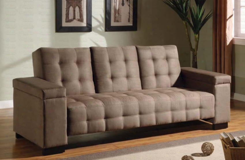 Futon Couch Bed With Button Tufted Design In Convert into leather Microfiber
